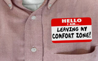 Image of a name tag saying I am leaving my comfort zone